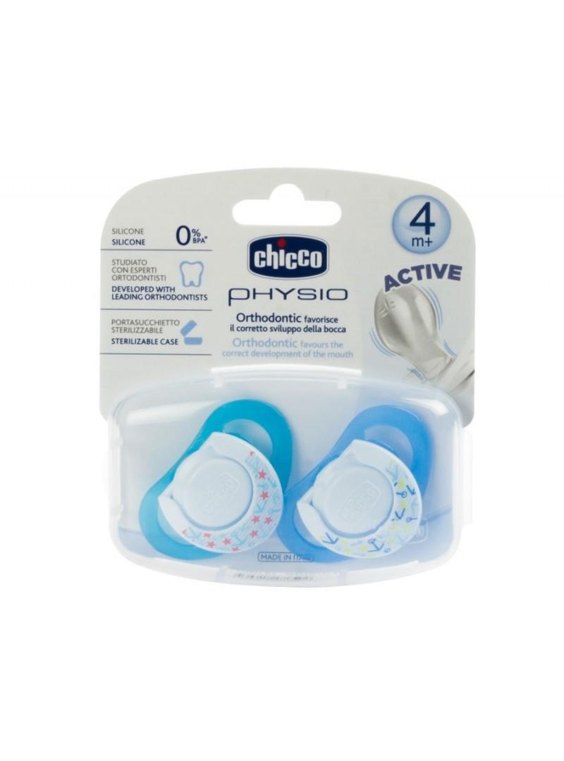 Chicco Physioring Silikon Emzik 2 li Mavi 4 Ay+