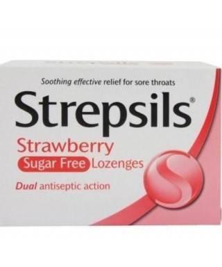 Strepsils Pastil Şekersiz Çilekli