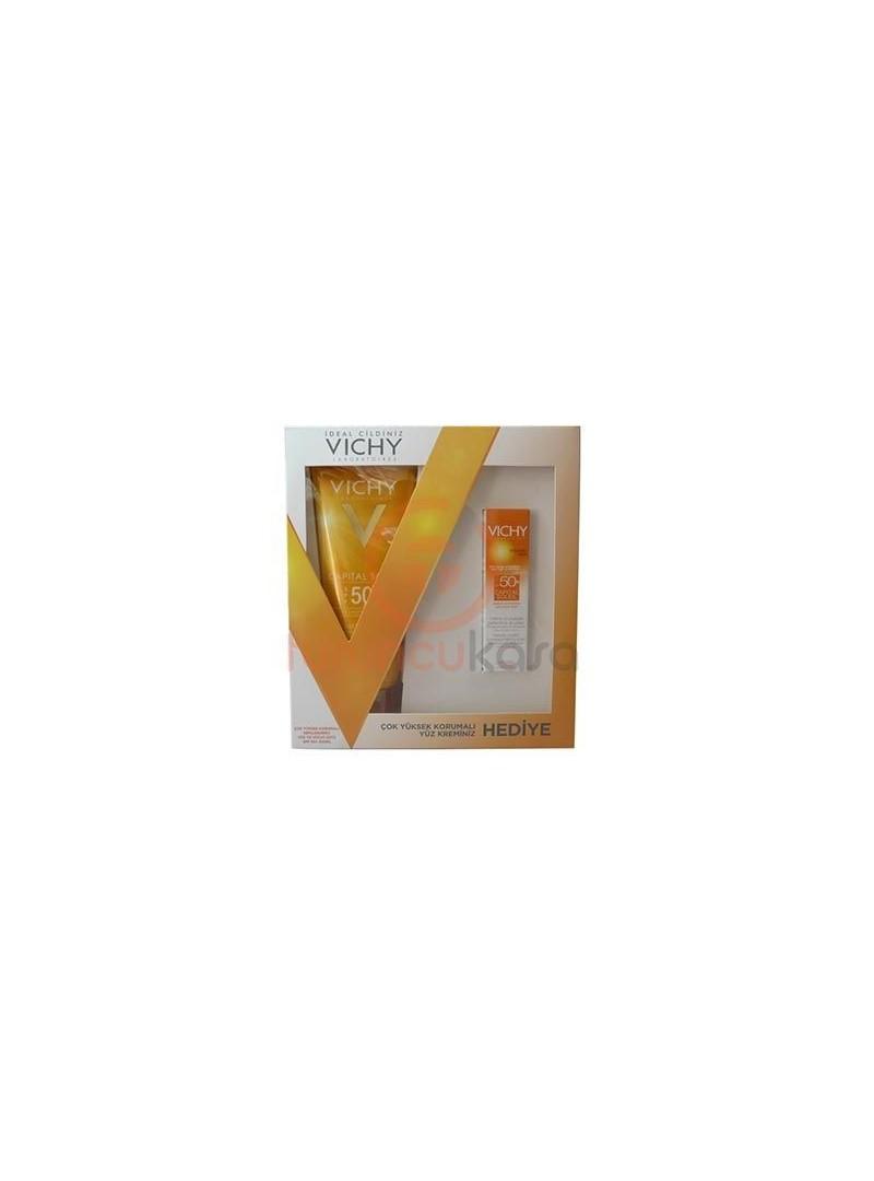 Vichy Capital Soleil Spf 50+ Yüz ve Vücut Sütü 300 ml Capital Soleil Spf 50+ Yüz Kremi Hediyeli