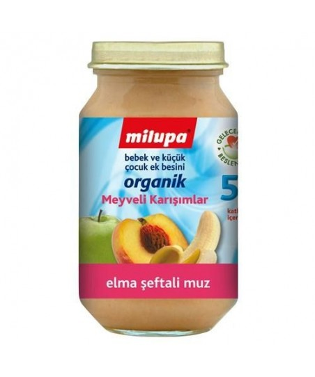 Milupa Organik Elma Muz Şeftali 200 gr
