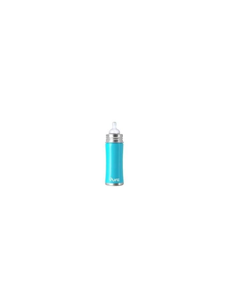 Pura Kiki 325ml Paslanmaz Çelik Biberon Orta Akış Silikon Emzikli Mavi