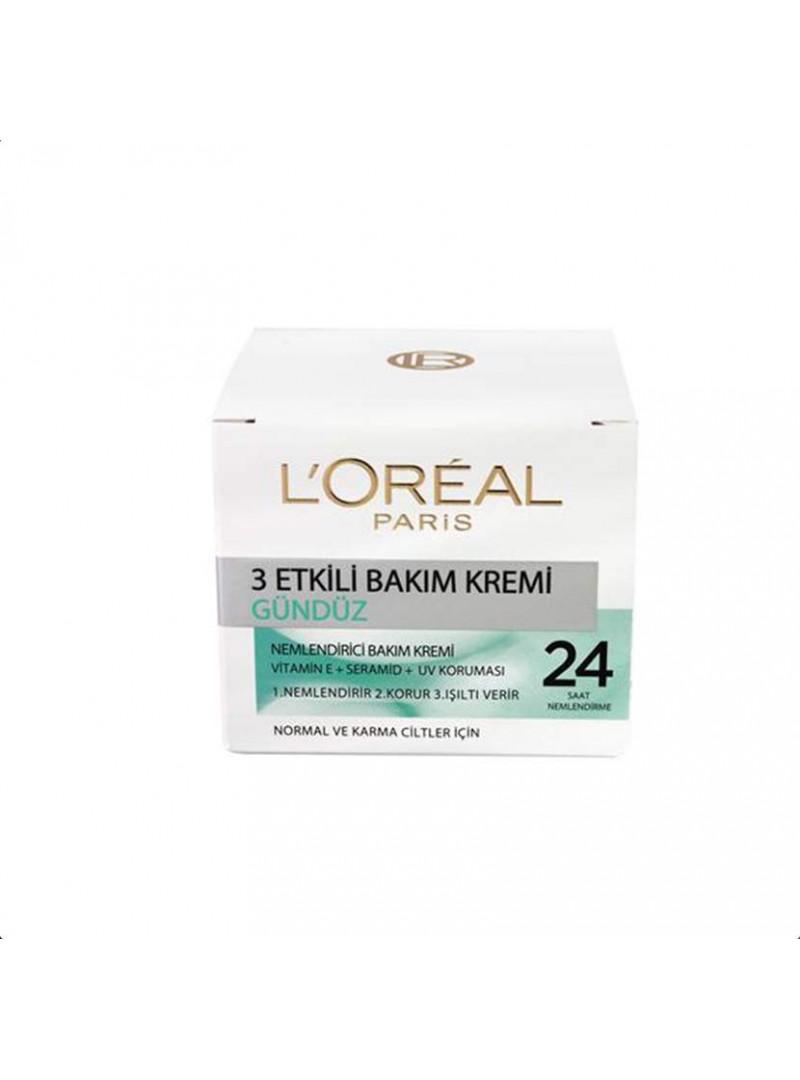 Loreal 3 Etkili Günlük Bakım Kremi 50 ml. Normal ve Karma Cilt Tipleri İçin