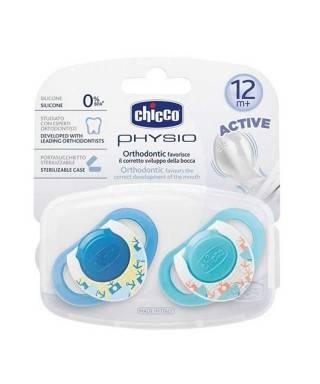 Chicco Physioring Silikon Emzik 2 li Mavi 12 M+