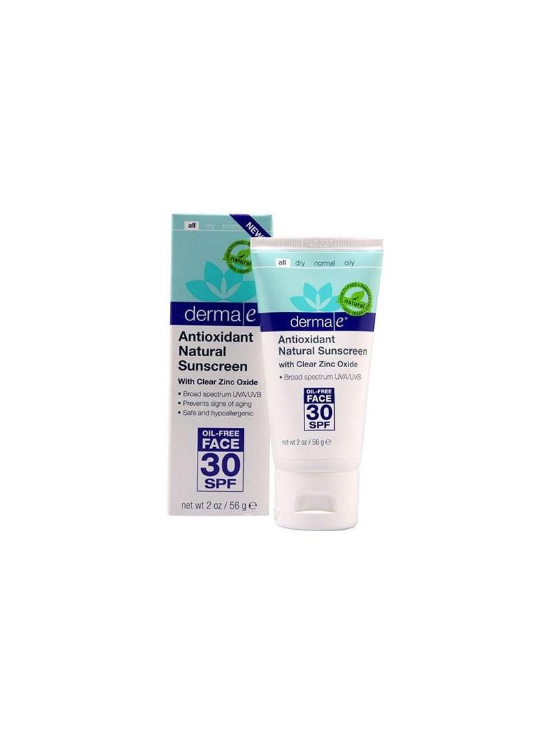 Derma E Antioxidant Natural Sunscreen SPF 30 Oil Free Face Lotion 56gr Antioksidan İçerikli Doğal Güneş Koruyucu