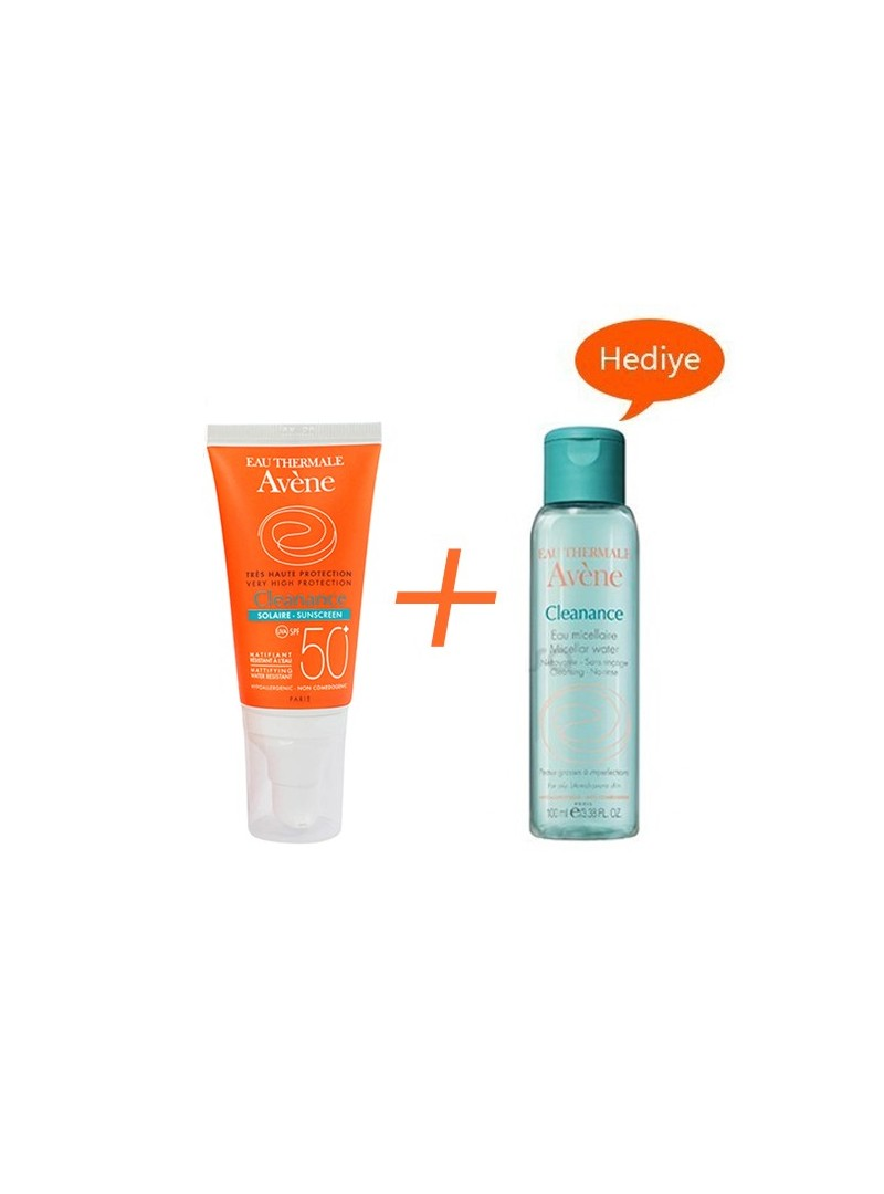 Avene Cleanance Solaire Spf30 50 ml - Avene Cleanance Cleansing Water 50ml Hediye