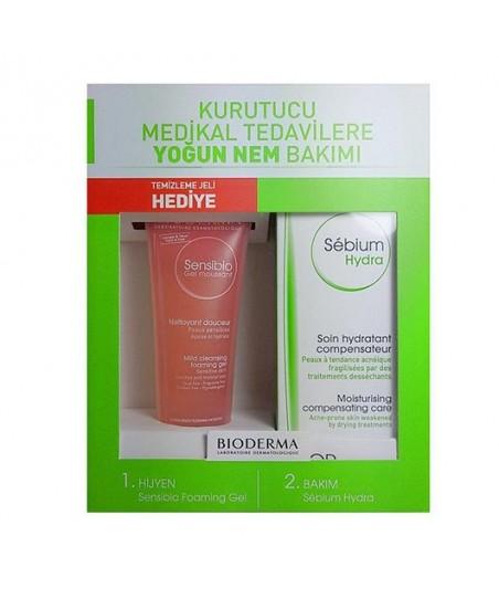 Bioderma Sebium Hydra 40ml Kofre - Sensibio Mild Cleansing Foaming Gel 45ml Set
