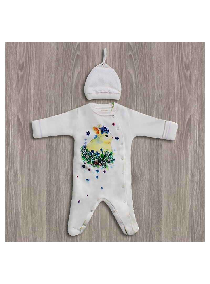 Aziz Bebe Tavşan Desenli Bebek Tulumu