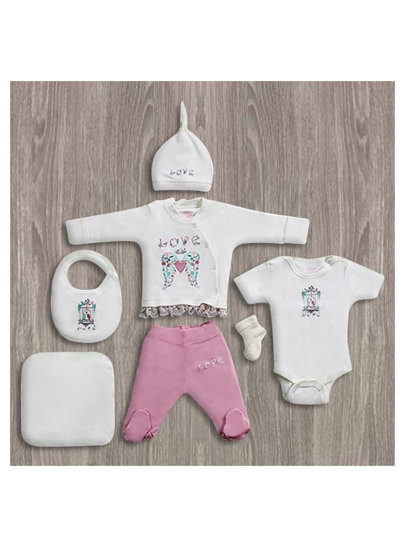 Aziz Bebe Love Yazılı 6'lı Yeni Doğan Bebek Seti