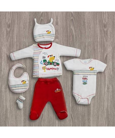 Aziz Bebe Kırmızı 6'lı Yeni Doğan Bebek Seti