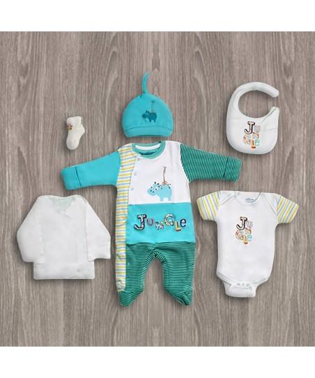Aziz Bebe Turkuaz 6'lı Yeni Doğan Bebek Seti
