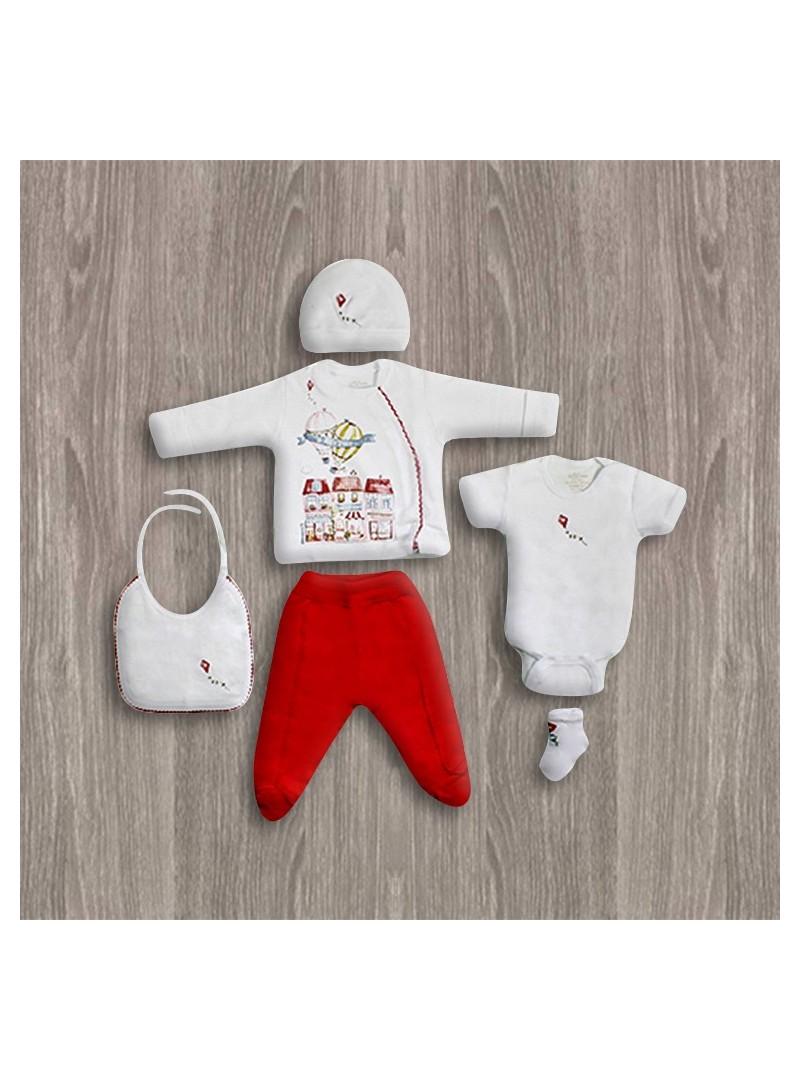Aziz Bebe Kırmızı-Beyaz 6'lı Yeni Doğan Bebek Seti