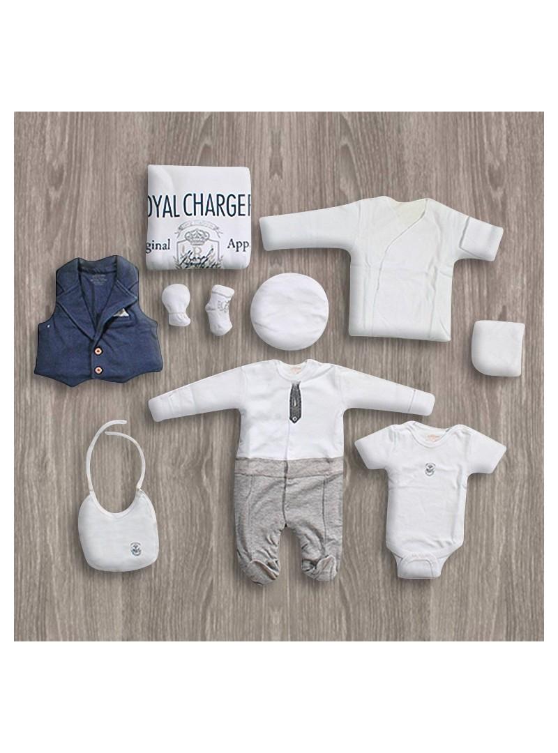 Aziz Bebe Beyaz-Lacivert 10'lu Yeni Doğan Seti