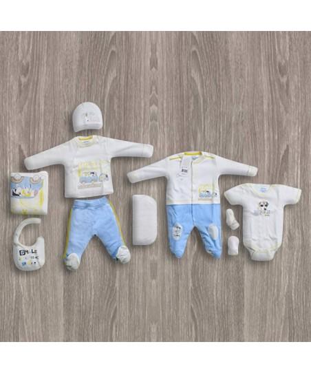 Aziz Bebe Köpek Desenli Ekru 10'lu Yeni Doğan Bebek Seti