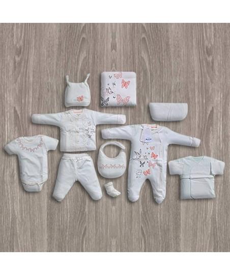 Aziz Bebe Kelebek Desenli 10'lu Yeni Doğan Bebek Seti