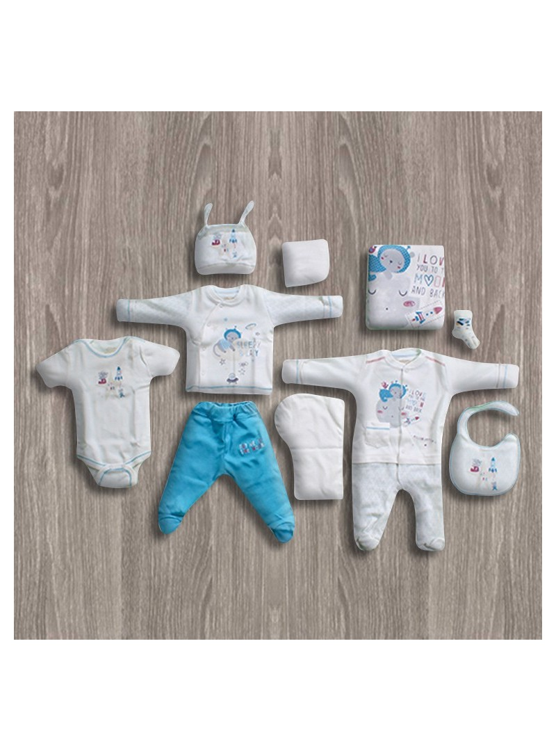 Aziz Bebe Mavi-Ekru 10'lu Yeni Doğan Bebek Seti