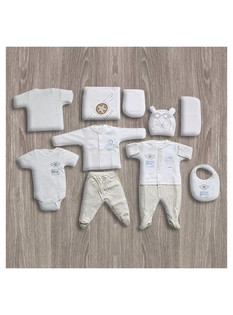 Aziz Bebe Yıldız Desenli 10'lu Yeni Doğan Bebek Seti