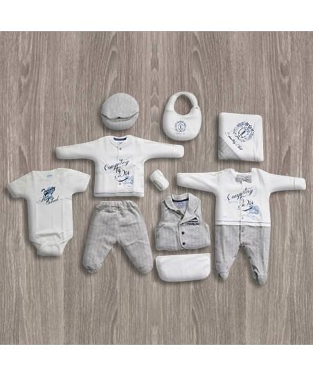 Aziz Bebe Gri-Ekru Papyonlu 10'lu Yeni Doğan Bebek Seti