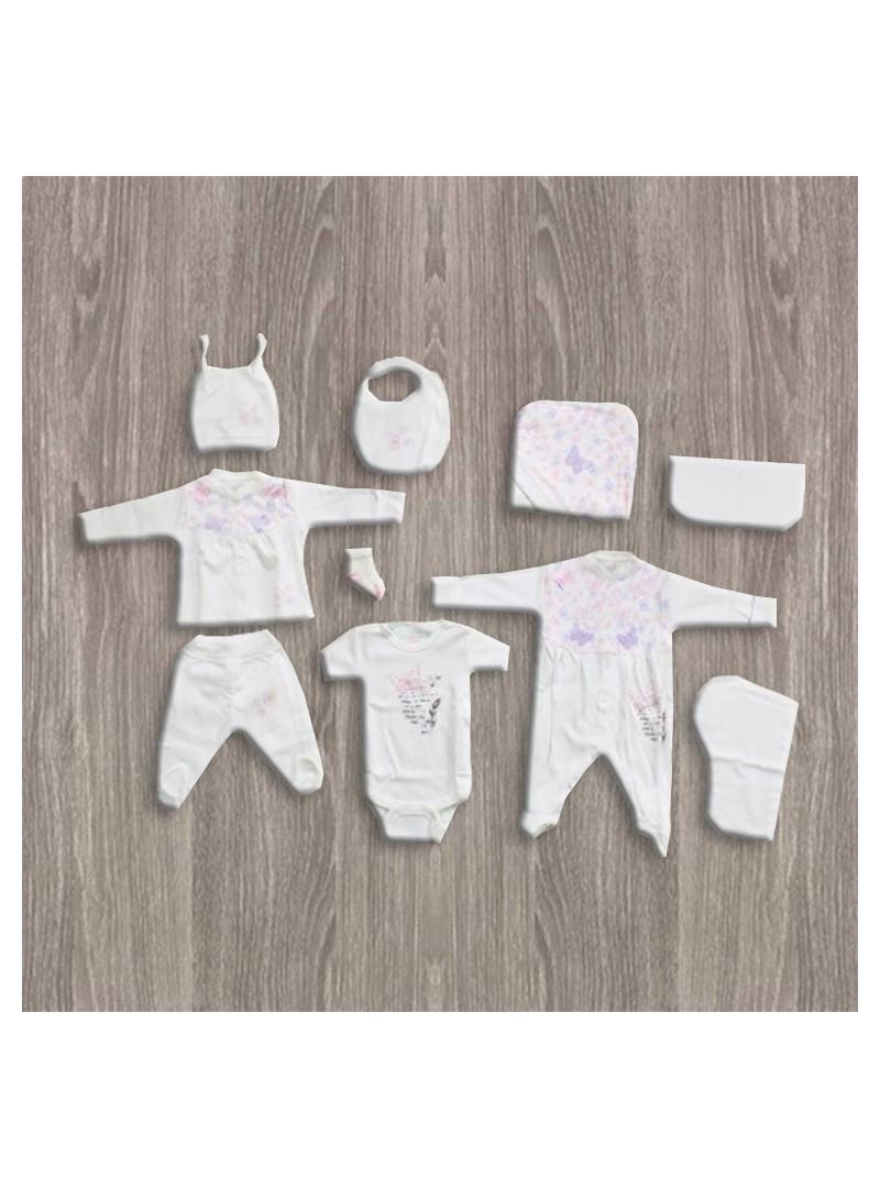 Aziz Bebe Mor-Pembe Kelebek Desenli 10'lu Yeni Doğan Bebek Seti