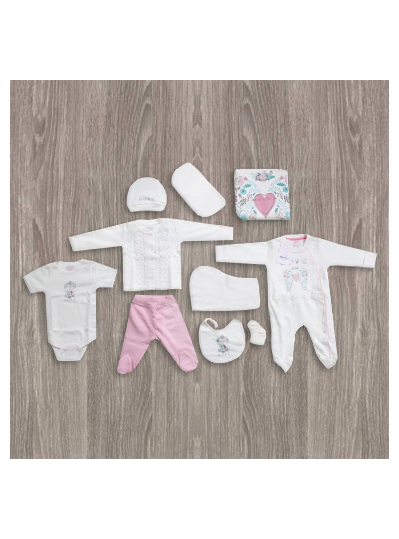 Aziz Bebe Kalp Desenli 10'lu Yeni Doğan Bebek Seti