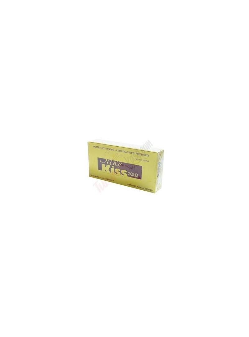 Silky Kiss Gold Kabartma Yüzeyli Prezervatif Kayganlaştırıcılı 12 li