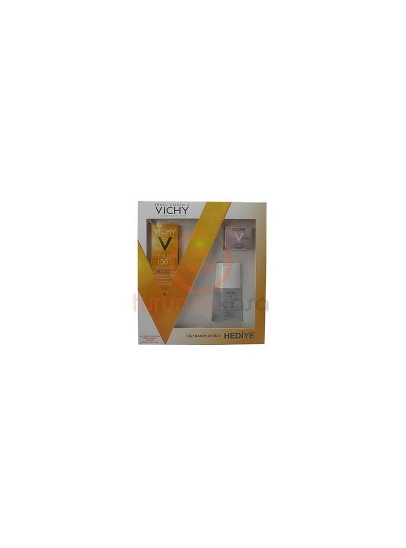 Vichy Capital Soleil Spf 50+ Renkli Dokulu Yüz Kremi Cilt Bakım Seti Hediyeli