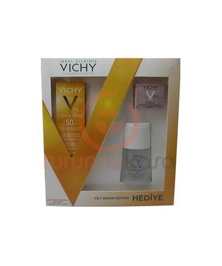Vichy Capital Soleil Spf 50+ Çok Yüksek Korumalı Yüz Kremi  Cilt Bakım Seti Hediyeli