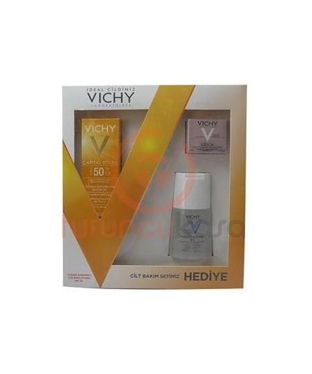 Vichy Capital Soleil Spf 50 Yüksek Korumalı Yüz Emulsionu Cilt Bakım Seti Hediyeli