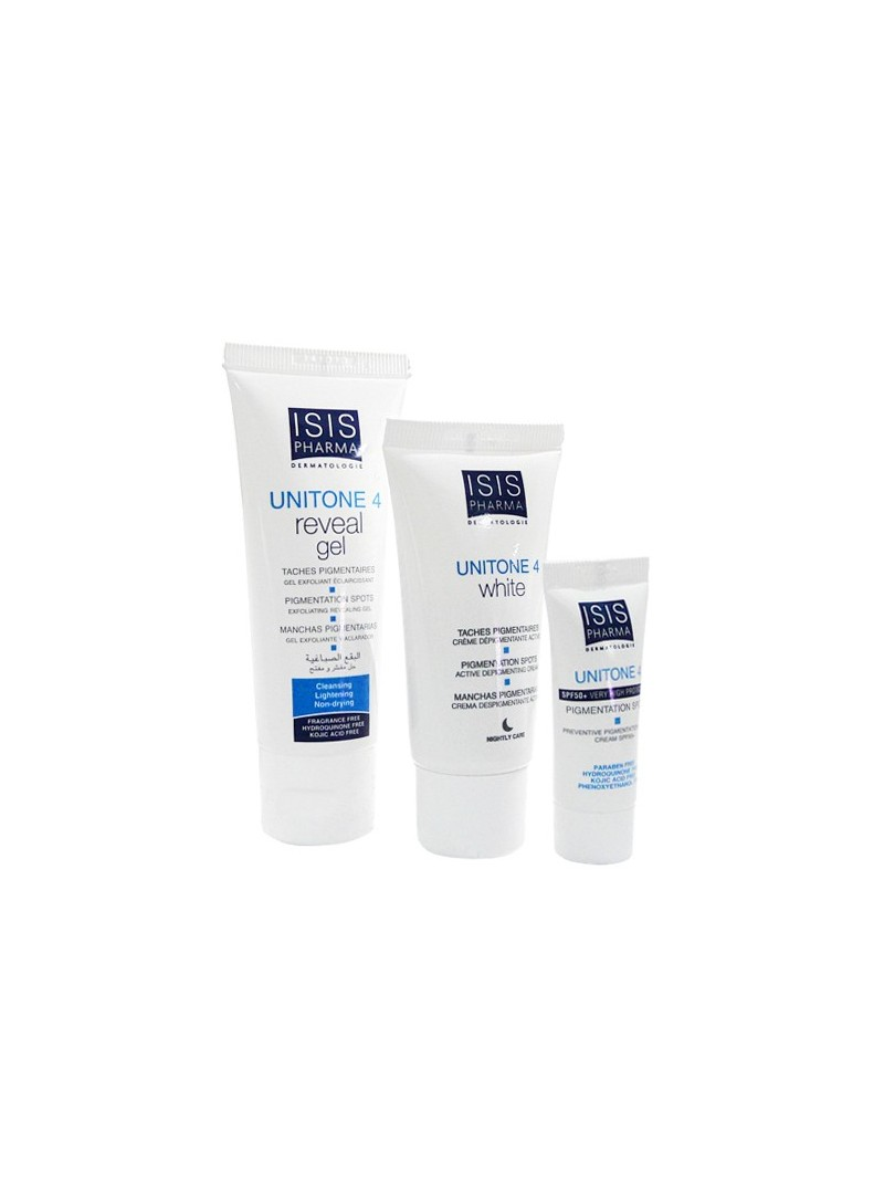 Isis Pharma Unitone 4 Creme 30 ml + Unitone 4 Reveal Gel 40 ml+ Unitone 4 SPF 50+ Creme 5 ml SET