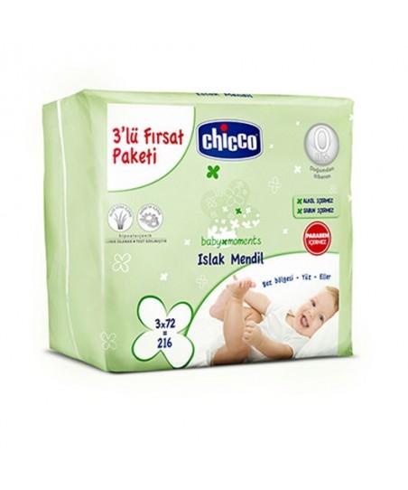 Chicco 3'lü Paket Islak Mendil 72 li