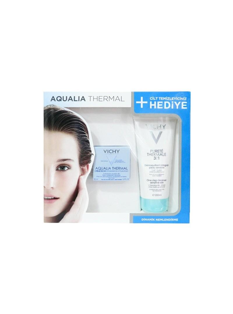 Vichy Aqualia Thermal Creme Riche Kuru Ciltler için Kofre - Purete Thermale Temizleyici 200ml Hediye