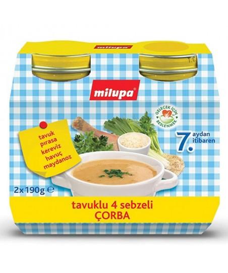 Milupa Kavanoz Maması Tavuklu 4 Sebzeli Çorba 2x190 gr