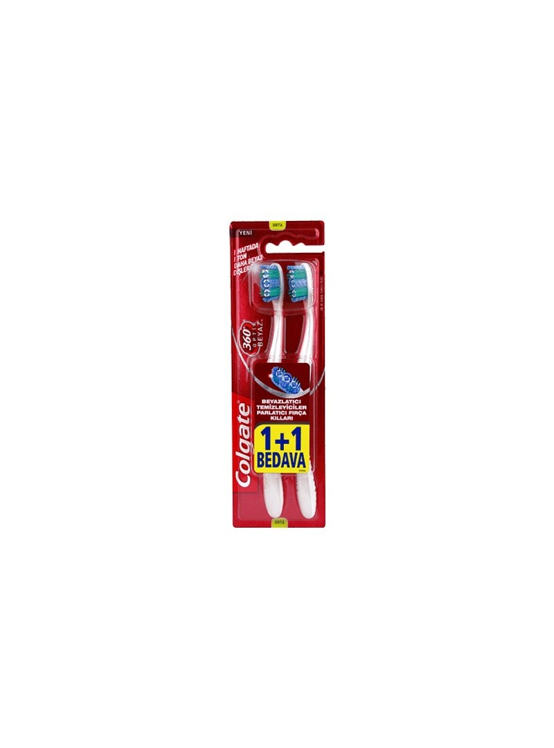 Colgate 360 Derece Optik Beyaz Diş Fırçası Orta 1+1 Hediye