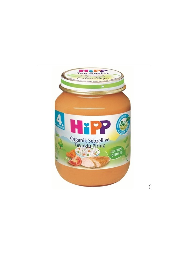 Hipp Organik Sebzeli ve Tavuklu Pirinç Kavanoz Maması 125 gr
