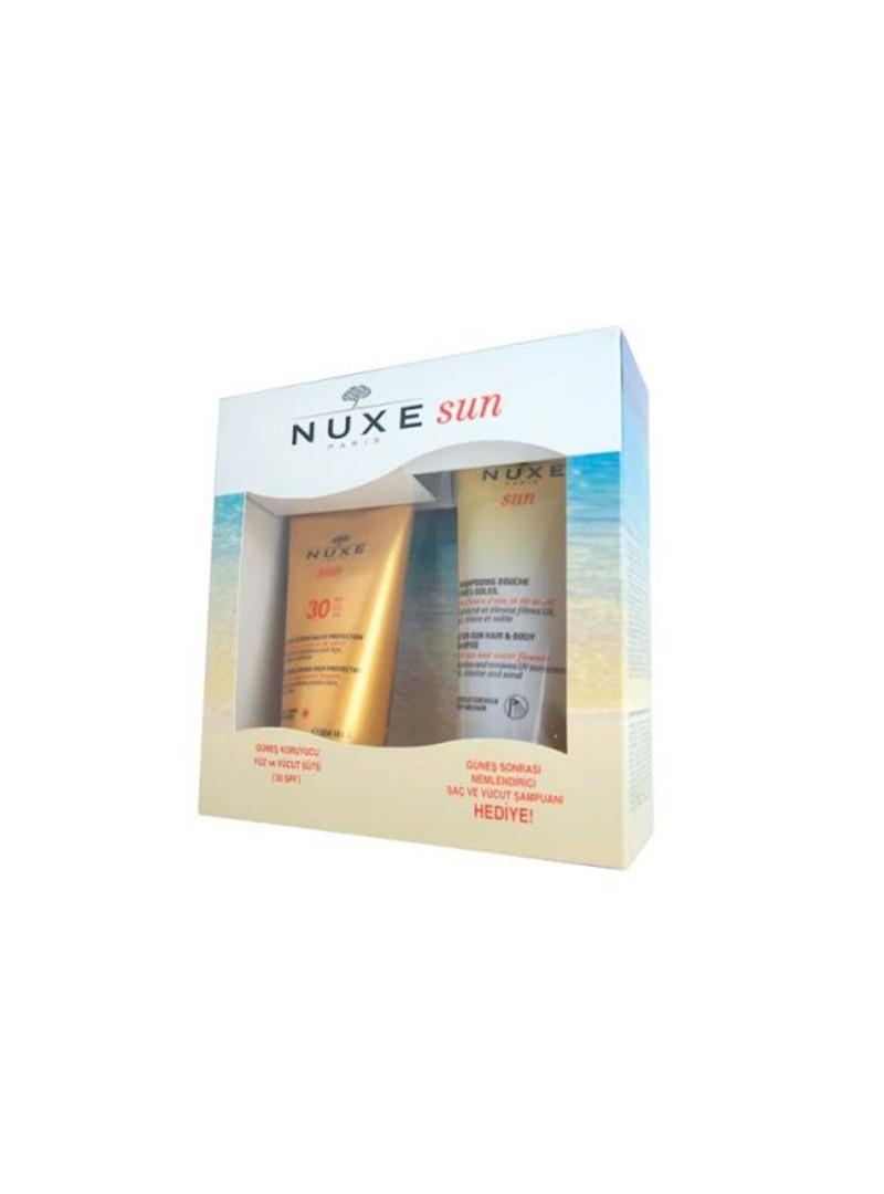 Nuxe Güneş Koruyucu Yüz ve Vücut Sütü Spf30 150ml + Güneş Sonrası Nemlendirici Şampuan Hediye