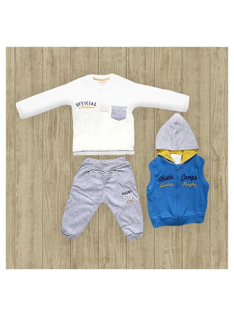 Aziz Bebe Kapşonlu 3'lü Erkek Takımı