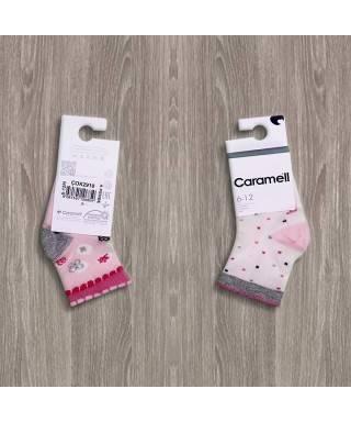 Caramell Puanlı Çiçekli 2'li Kız Bebek Çorapları