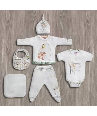 Aziz Bebe Kuğu Desenli 6'lı Yeni Doğan Bebek Seti