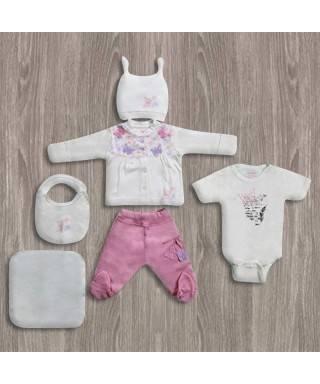 Aziz Bebe Kelebekli 6'lı Yeni Doğan Bebek Seti