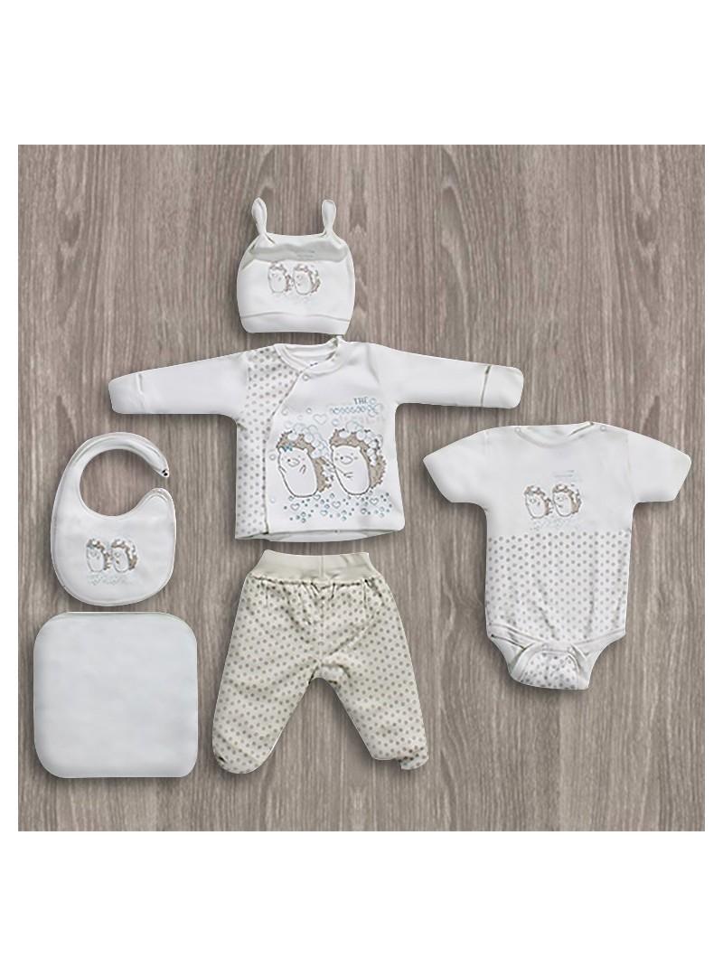 Aziz Bebe Kirpi Desenli 6'lı Yeni Doğan Bebek Seti