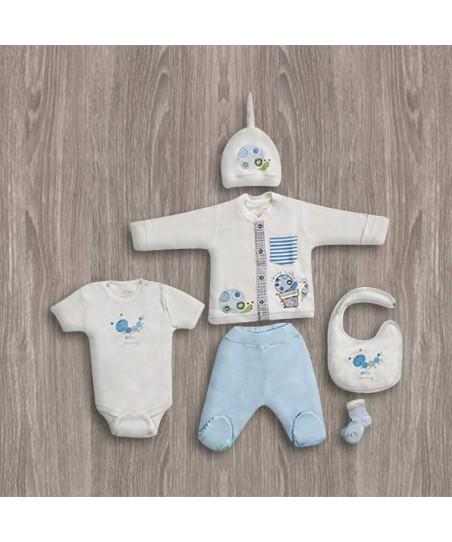Aziz Bebe Mavi 6'lı Yeni Doğan Bebek Seti