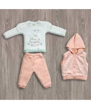 Aziz Bebe Kapşonlu 3'lü Kız Takımı
