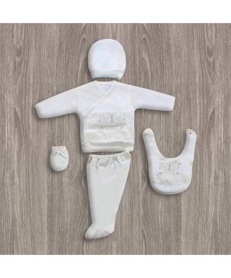 Bebitof Kelebek Nakışlı 5'li Hastane Çıkış Seti