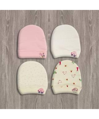 Sebi 4'lü Desenli Kız Bebek Şapkası