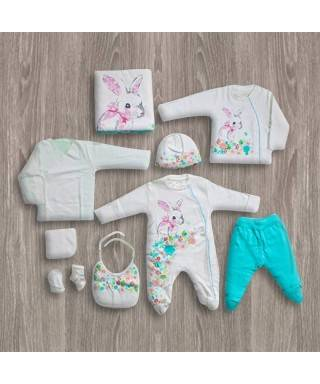 Aziz Bebe Tavşanlı Ekru-Turkuaz 10'lu Yeni Doğan Bebek Seti