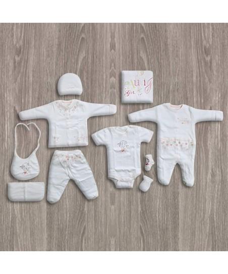 Aziz Bebe Çiçek Tüllü 10'lu Yeni Doğan Bebek Seti