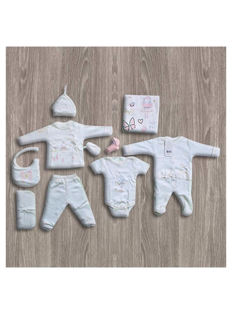 Aziz Bebe Melek Desenli 10'lu Yeni Doğan Bebek Seti
