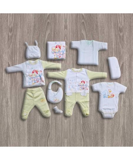 Aziz Bebe Ekru-Sarı 10'lu Yeni Doğan Bebek Seti