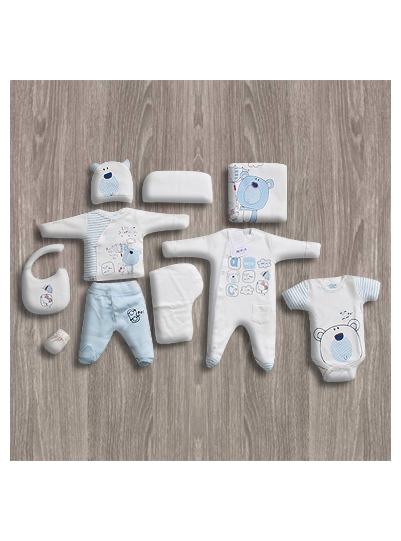 Aziz Bebe Ekru-Mavi 10'lu Yeni Doğan Bebek Seti