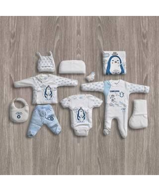 Aziz Bebe Penguen Desenli 10'lu Yeni Doğan Bebek Seti