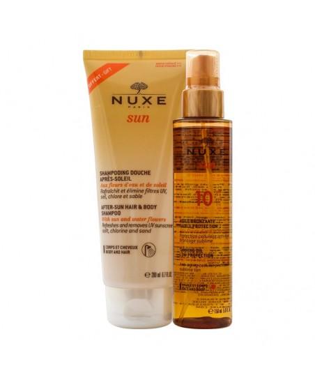 Nuxe Bronzlaştırıcı Yüz ve Vücut Yağı Spf10 150ml + Güneş Sonrası Nemlendirici Şampuan 200ml Hediye